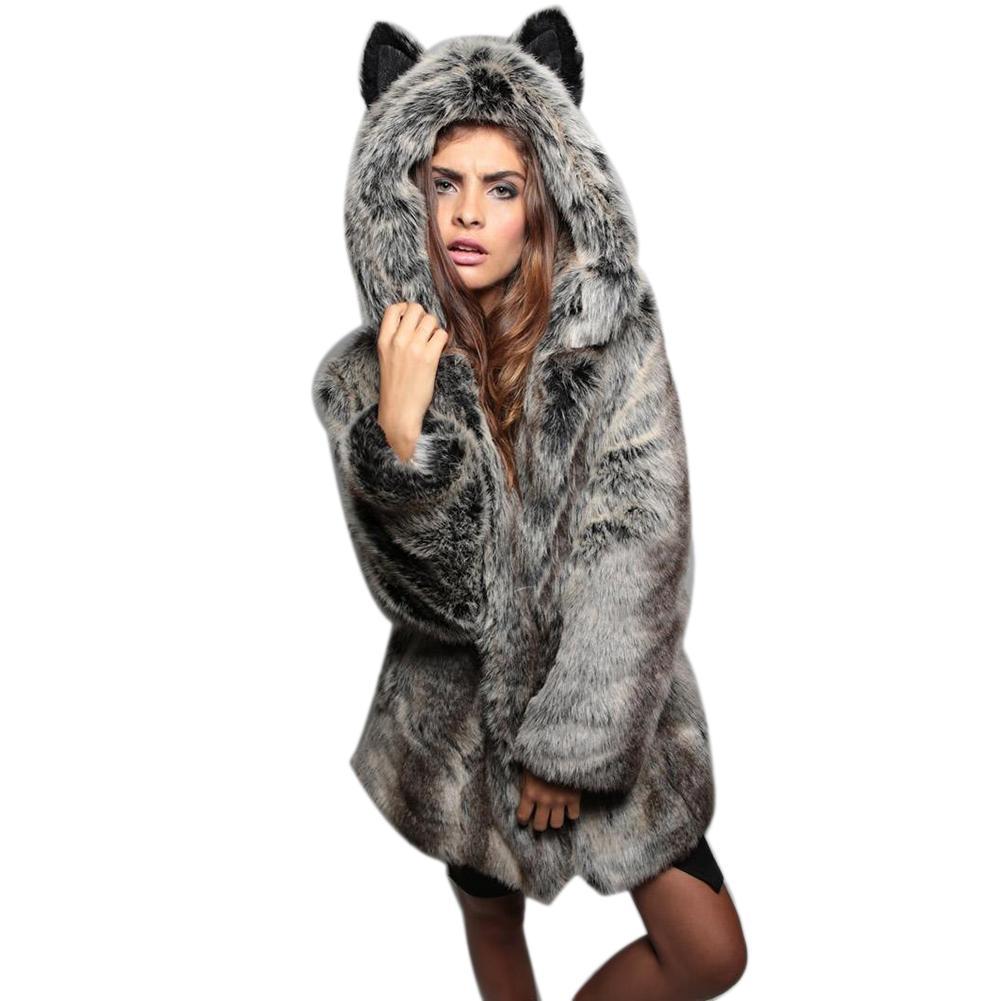 Capuche Gros À Veste Taille Manteau Fourrure Fausse Épais En La Femmes Hiver Chaud Oreilles Plus Animale 6d7q7cf