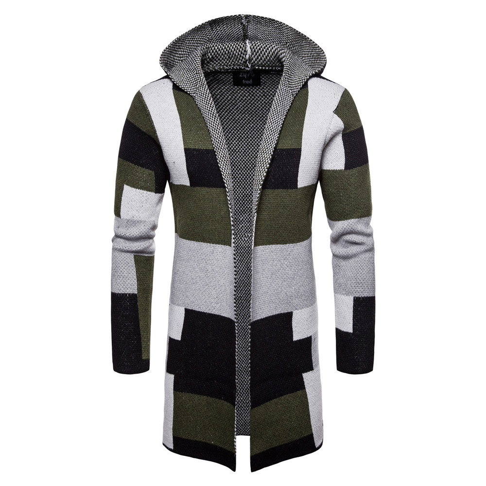 Fashion Men Casual Sweater 2018 Winter Thick coat slim Cardigan Men Hooded Neck Quality Knitted Brand Male Sweaters size M-XXL