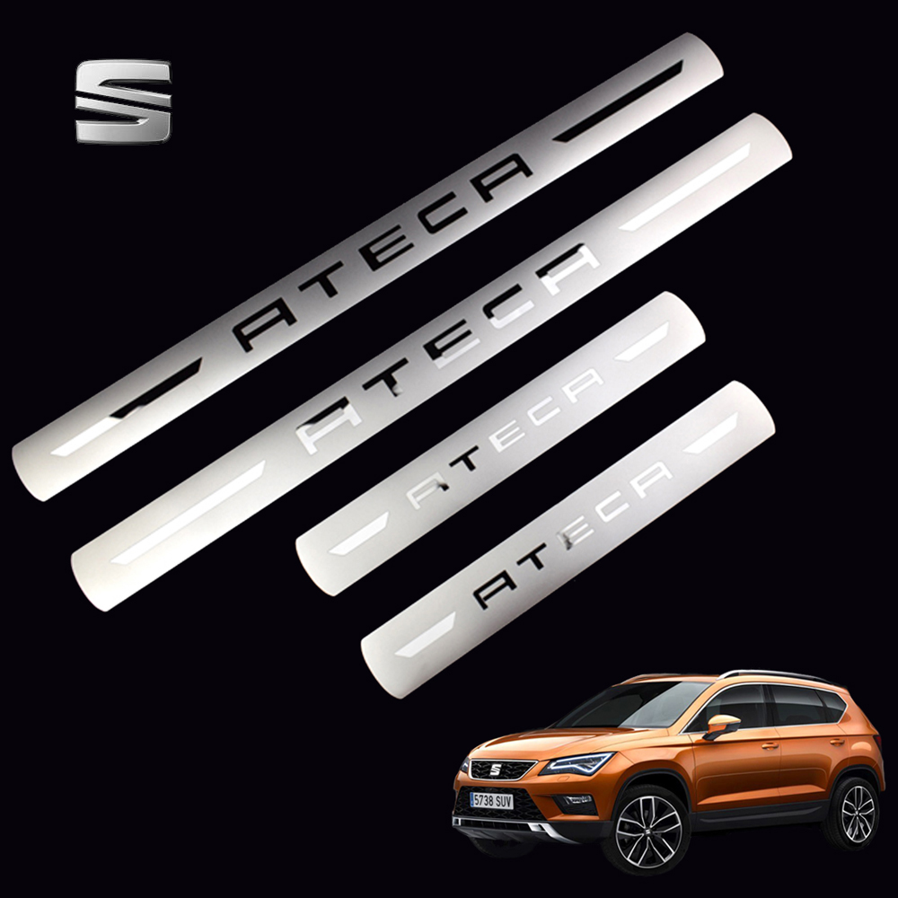 New Stainless Steel Door Sill Scuff Plates For SEAT ATECA FR X Perience Car Door Sill