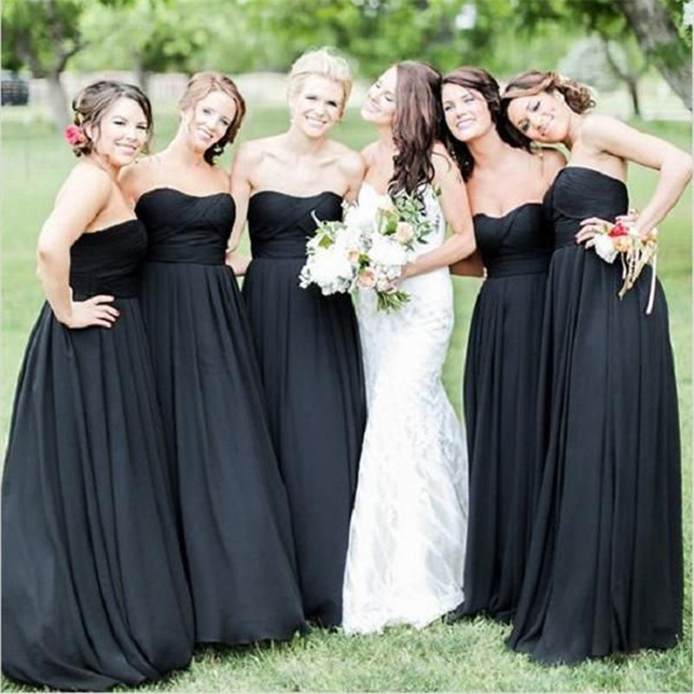 Black Pleat Satin A Line   Bridesmaid     Dresses   Strapless Sleeveless Floor Length Long Wedding Guest   Dress   2019 Cheap Women Gowns