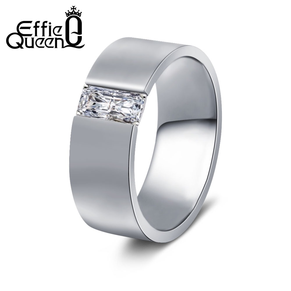 Effie Queen Women's Smooth Gold Color Stainless Steel Ring with AAA CZ High Polished Simple Men's Wedding Jewelry 8mm IR83