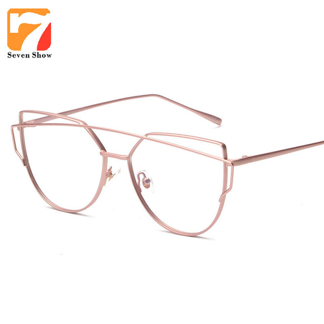 ad10d0ae3e Alloy Metal Cat Eye Clear Lens Rose Gold Glasses Frame Eyeglasses  Prescription Spectacle Frames Myopia Computer Eyewear Oculos