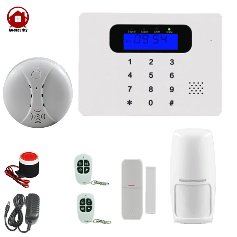 AG security  Home GSM alarm system with Free APP 99 wireless zone 2 wired zone SMS Dial AUTO Smoke Sensor Fire Detecor free shipping 99 wireless zone and 2 wired quad band lcd home security pstn gsm alarm system 3 pet immune pirs 5 new door sensor
