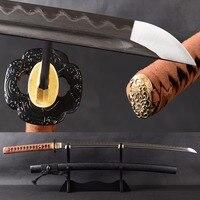 Brandon Swords Real Handmade Samurai Katana Folded Steel Clay Tempered Long Sword Distinct Hamon Japanese Sword Real Leather ito