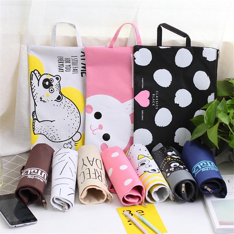 A4 File Bag File Folder Documents File Bag Stationery Filling BAG School Office Storage File Pouch Holder Zipper Bag 12 Colors