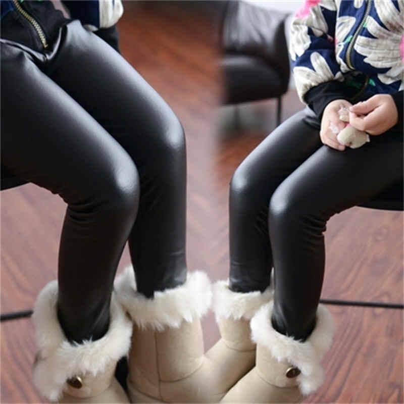 eeac9dda22536b Hot Sale Girls Leggings Children's Clothing Baby Kids Leather Pants Solid  Black Navy Skinny Toddler Leggins
