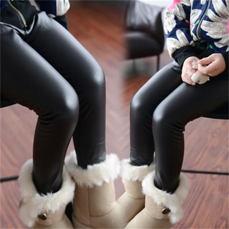 Hot Sale Girls Leggings Childrens Clothing Baby Kids Leather Pants Solid Black Navy Skinny Toddler Leggins Pantalon For 2-16Y