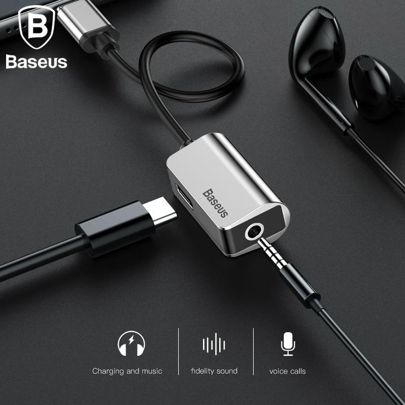 Baseus Type-C Audio Cable Adapter Type C to 3.5mm jack Audio Splitter USB C Earphone Adapter for Xiaomi Samsung Huawei P20 pro