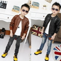 2014 New Children's PU Leather Jacket For Spring/Autumn,Girls PU Leather Jacket With Plush Velvet For Winter,Height 95-155cm