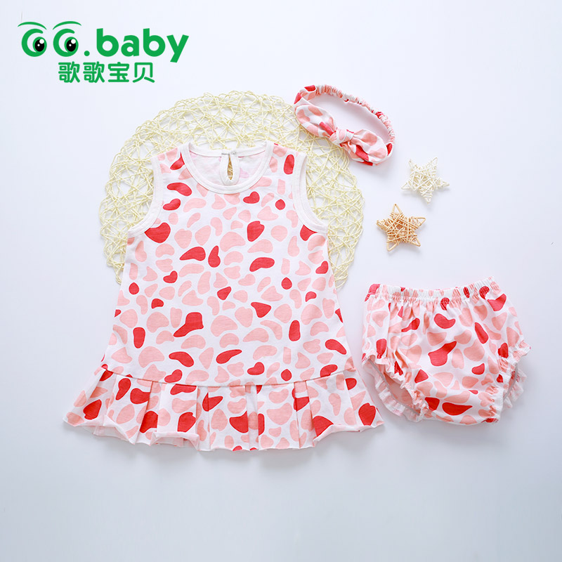 3pcs/set Hair Band Baby Girls Summer Dress Girls Cotton Princess Dresses Infant Sleeveless For Newborns Girl Party Kids Dresses радионяня summer infant summer infant радионяня babble band 29556