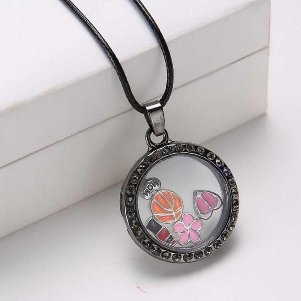 Fashion 9 Circular Color Frame Pendant Necklaces Women Charming Cute Crystal Floating Charms Round Locket Pendant Necklaces