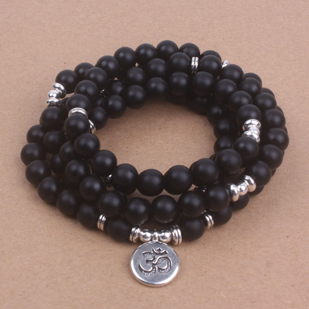Black frosted onyx beads with Lotus OM Buddha Charm Yoga Bracelet or Necklace Natural stone 108 mala jewelry dropshipping