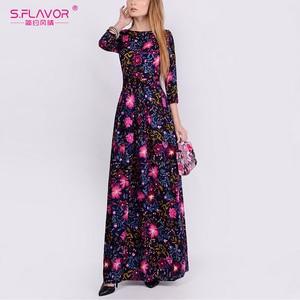 Image 4 - S. FLAVOR mujeres elegante vestido estampado Floral moda cuello redondo manga tres cuartos Vestidos largos otoño elegante Vestidos de fiesta