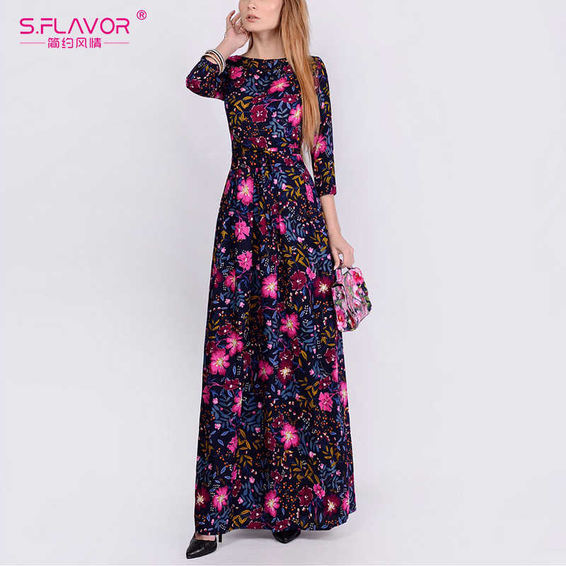 Женские платья с принтованными цветами S.FLAVOR, элегантное длинное платье с О-образным вырезом и рукавом 3/4, элегантные осенние праздничные платья