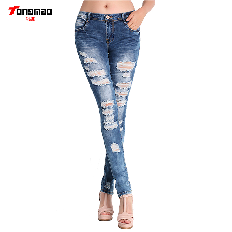TONGMAO New Fashion Women's Holes jeans Cool denim Slim stretc Retro feet Pencil Pants Mid waist Women's Casual pants Large size new women fashion slim mid waisted casual holes skinny pencil jeans