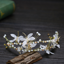 Pearl and Rhinestone Flower Headband Dragonfly Hair Ornaments