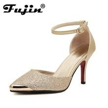 Женская обувь весна 2018 г. ботинки на каблуках женская обувь на низком каблуке Элегантные красные подошва обуви платье босоножки на высоком каблуке Пряжка StrrapL121