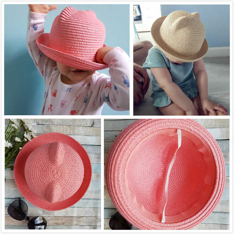 353cb644543 ... MOLIXINYU Fashion Ears Straw Hats Baby Hats For Girls Bucket Hat Boys  Cap Children Sun Summer ...
