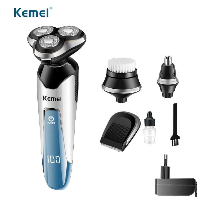 Kemei 4in1 Professional Razor rechargeable electric nose hair trimmer for men face barber razor shaving machine waterproof