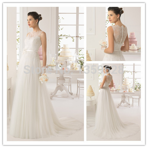 Gownbeautiful Illusion Neckline Lace Cover Back Wedding Dress Ivory Beach Dresses Rse 038 Casual