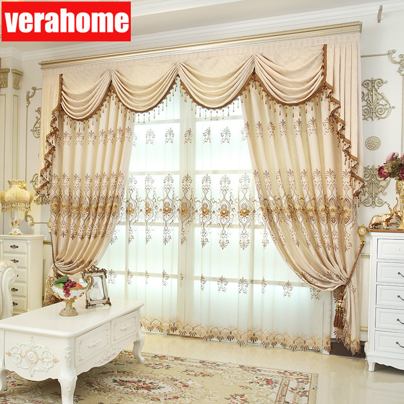 Luxury European Embroidered perspective Curtains for living room bedrooms windows Screen valanceLuxury European Embroidered perspective Curtains for living room bedrooms windows Screen valance