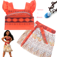 2017 Princess Moana Cosplay Costume For Children Vaiana Dress Costume With Necklace For Halloween Costumes For