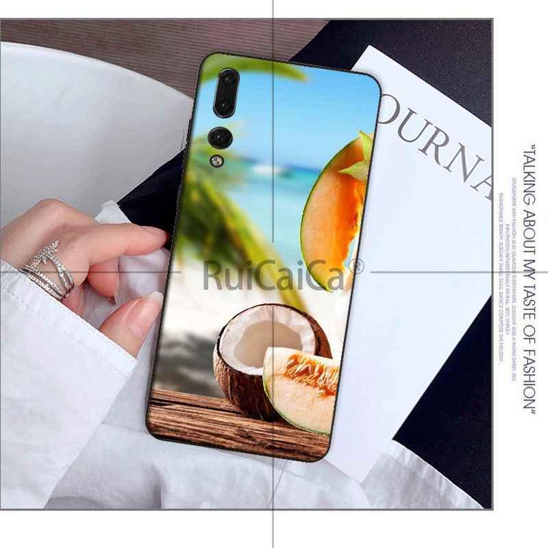 Ruicaica Frutta di Cocco In Cielo Blu Summe Smart Cover Cassa Del Telefono per Huawei P20 Borsette Pro P10 Più P9 Compagno 10 Lite Mobile Custodie