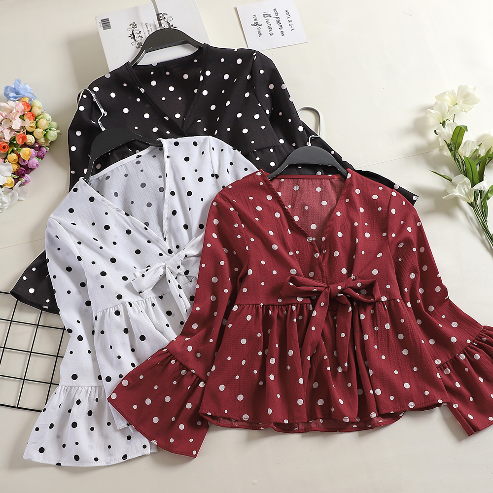 Back To Search Resultswomen's Clothing Women V-neck Flare Sleeve Ruffle Bandage Lace Up Bow Shirt Female Vintage Slim High Waist Polka Dot Chiffon Pullover Blouse Tops Nourishing Blood And Adjusting Spirit