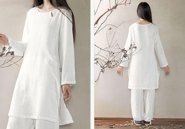 8a9880f99c Puur katoen vrouwen lente & zomer yoga suits zen lay meditatie kleding tai  chi uniformen wit