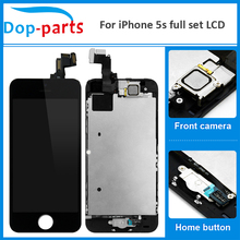 цены на 100Pcs Wholesale Full Set LCD For iPhone 5s LCD Display home button + front camera Touch Screen Digitizer Assembly Replacement  в интернет-магазинах