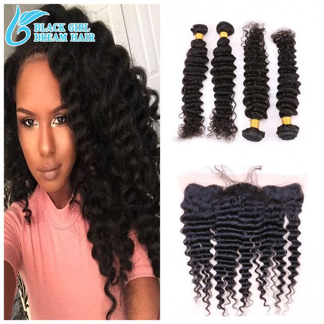 "13""*4"" Ear To Ear Lace Frontal Closure With bundles Loose Deep ,100% Virgin Brazilian Hair With Lace Frontal Closure"