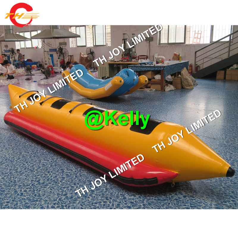 US $425 0  Free air shipping 4 seats inflatable water banana boats for  sale, commercial Inflatable banana tube water toys for sale-in Inflatable