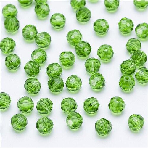 3, 4, 6, 8 мм разноцветные Круглые Стеклянные бусины для изготовления ювелирных изделий, аксессуары для рукоделия, Круглые граненые разделительные бусины, Z105 - Цвет: Z105 grass green