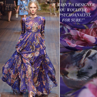2018 New 1 Meter Night Owl Printed Purple/yellow 100% Pure Silk Chiffon Fabric Lining Mulberry Dress Material Summer