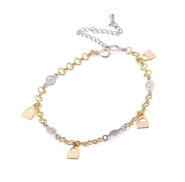 MxGxFam(220*5 мм) крошечный разноцветный браслет-шарм Женская с замком, изготовленный из сплава окружающей среды - Окраска металла: Золотой цвет