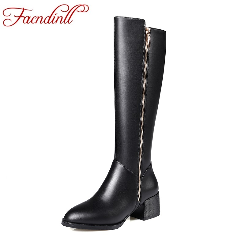 FACNDINLL shoes woman long boots genuine leather square heel pointed toe black zipper women knee high boots winter riding boots facndinll women knee high boots leather winter boots pointed toe zip casual shoes women high heels size 32 45 black boots woman