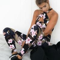 Seamless Floral Printed Sport Suit Women Cross Neck Bra High Waist Leggings Yoga Set Fitness Running GYM Yoga Clothes 2017