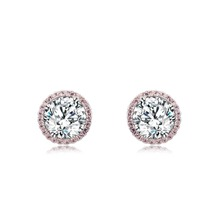 Fshion Design Top Quality Earrings Cubic Zircon Stud Earring for Women Boucle Doreille Pendientes Mujer Pink inlaid oute