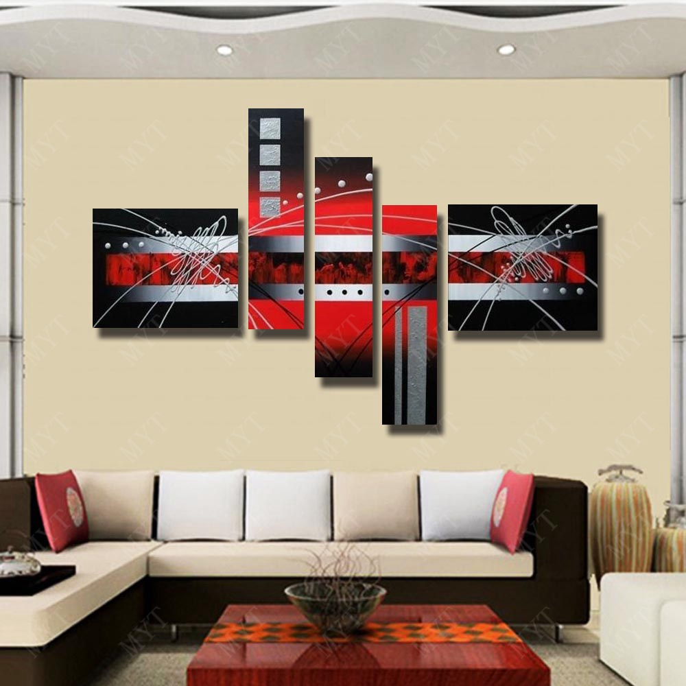 Aliexpress.com : Buy Chinese Wall Art 5 Peices Abstract Red Line Oil ...