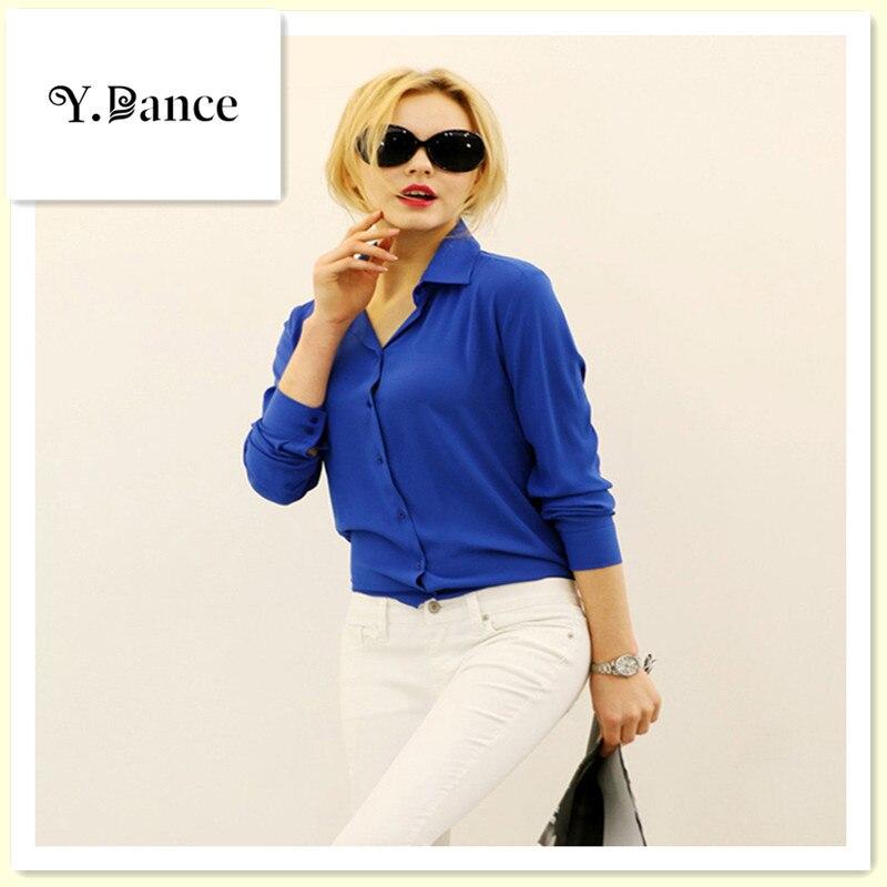 2017 The new Women Chiffon Shirt Spring Summer Womens new European and American Long-sleeve Chiffon Shirt Blouse Large Size