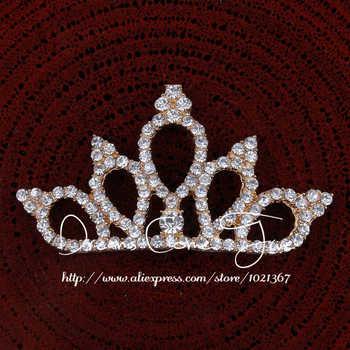 200pcs/lot 2Colors Vintage Boutique Rhinestone Crown For Baby Hair Accessories Flat Back Alloy Tiara Button For Enbellishment