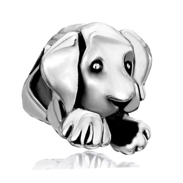משלוח חינם 1 PC אירופאי חרוזים חור גדול גדול קסמי כלב כלבלב חמוד מנומנם מתאים פנדורה סגולה צמידים ושרשרת