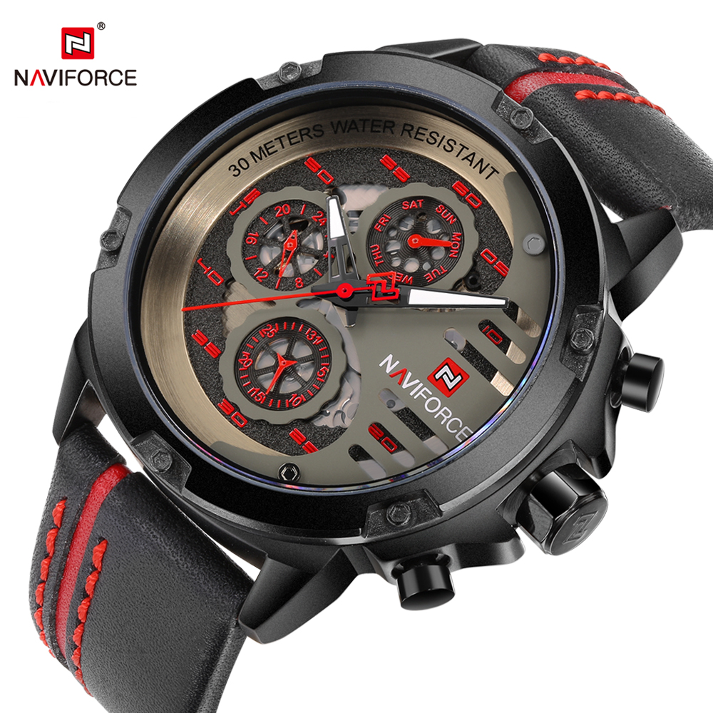 NAVIFORCE Sport Men Fashion Wristwatch Leather Strap Week Display Army Military Mens Quartz Watch Male Clock Relogio Masculino 2017 new fashion men watch silicone strap waterproof shockproof quartz wristwatch male army military clock relogio masculino 46