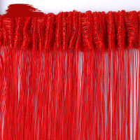 300x300cm Straight Line Curtain Polyester Fabric Solid Color Red Curtain for Wedding Home Bedroom Partition Door String Curtains