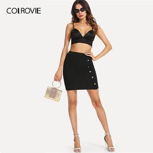 Image 5 - COLROVIE Black Solid Gold Button Front Bodycon Elegant Skirt Women 2019 Summer Korean Streetwear Mini Skirt Office Pencil Skirts