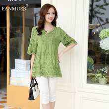 2014 new women blouses ,embroidery summer  shirt free shipping hot sell