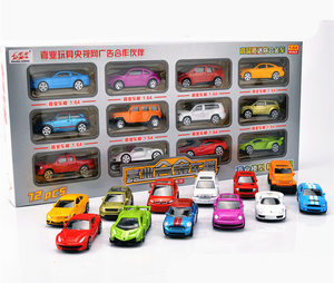 Simulation 12pcs/set Alloy Luxury Mini car model Fire truck helicopter super car sportscar SUV vehicle Collection model gift toy(China)