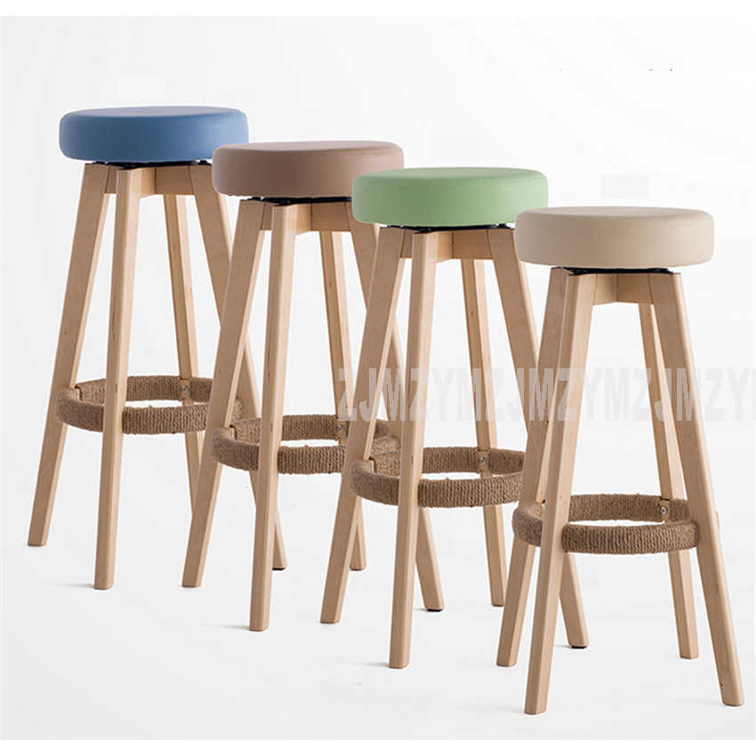 Magnificent Wooden Swivel Bar Stools Modern Natural Finish Round Pu Leather Sponge Soft Seat Backless Commerical Bar Furniture 74Cm Height Alphanode Cool Chair Designs And Ideas Alphanodeonline