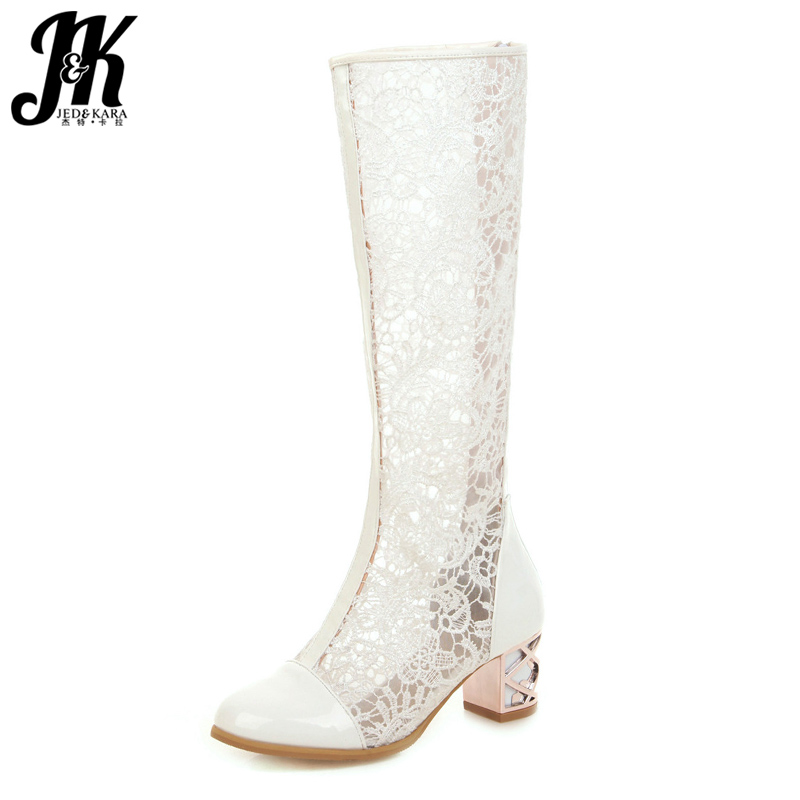 JK Knee High Boots Women White Lace Summer Boots Solid Strange Style Shoes Female Round Toe High Heels Shoes 2019 Plus Size 48JK Knee High Boots Women White Lace Summer Boots Solid Strange Style Shoes Female Round Toe High Heels Shoes 2019 Plus Size 48