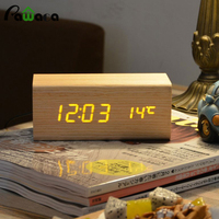 Home Decor LED Digital Alarm Clock Temp Dual Display Desk Table Sound Sensitive Electronic Vintage Wood